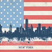 New York Skyline Usa Flag 4 Art Print