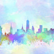 New York Skyline Watercolor 7 Art Print