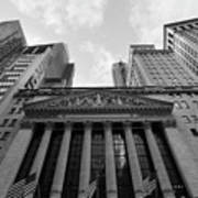 New York Stock Exchange Black And White Art Print