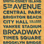 New York Train Stations Retro Vintage - Black On Yellow Art Print