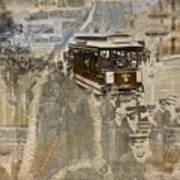 New York Trolley Vintage Photo Collage Art Print