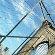 New York Usa  Brooklyn Bridge Towards Manhattan. Art Print