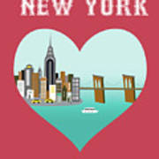 New York Vertical Skyline - Heart Art Print
