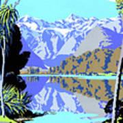 New Zealand Lake Matheson Vintage Travel Poster Art Print