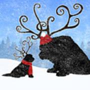 Newfie Reindeer Art Print