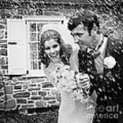 Newlyweds Showered With Rice, C.1960-70s Art Print