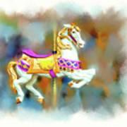 Newport Beach Carousel Horse Art Print