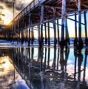 Newport Beach Pier - Reflections Art Print