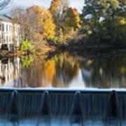 Newton Upper Falls Autumn Waterfall Reflection Art Print