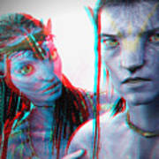 Neytiri And Jake Sully - Use Red-cyan 3d Glasses Art Print