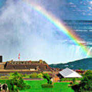 Niagara Falls And Welcome Centre With Rainbow Art Print