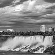 Niagara Falls - The American Side 3 Bw Art Print
