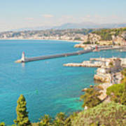 Nice Coastline And Harbour, France Art Print