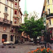 Niederdorf Square In Zurich Switzerland Art Print