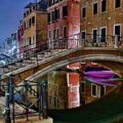 Night Bridge In Venice Art Print