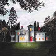 Italian House Country House Detail From Night Bridge  Art Print