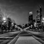 Night Falls On The City - Philadelphia - Black And White Art Print