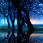 Night Fog In A City Park Art Print