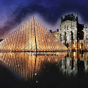 Night Glow Of The Louvre Museum In Paris Art Print