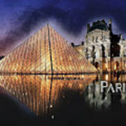 Night Glow Of The Louvre Museum In Paris Text Paris Art Print