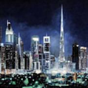 night in Dubai City Art Print