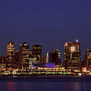 Night Lights Of Downtown Vancouver Art Print