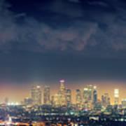 Night Los Angeles Skyline Art Print