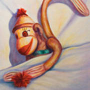 Night Night Sock Monkey Art Print
