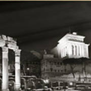 Night Panorama In Rome Art Print
