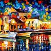 Night Riverfront - Palette Knife Oil Painting On Canvas By Leonid Afremov Art Print