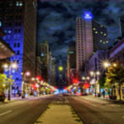 Night Shot Of Broad Street - Philadelphia Art Print