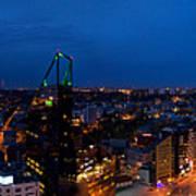 Night Tallinn City Line Panorama Art Print