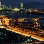 Night Traffic Over Han River In Seoul Art Print