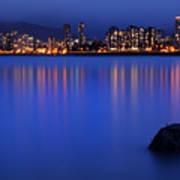 Night Vancouver Cityscape Art Print
