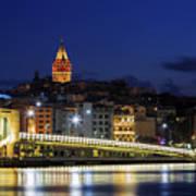 Night View Of Galata Bridge And Galata Tower. Art Print