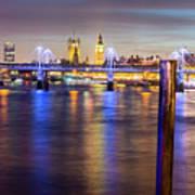 Night View Of Hungerford Bridge And Golden Jubilee Bridges London Art Print