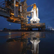 Night View Of Space Shuttle Atlantis Print by Stocktrek Images