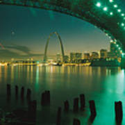 Night View Of St. Louis, Mo Art Print by Michael S. Lewis