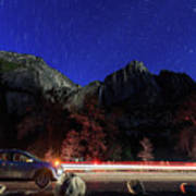 Night View Of The Upper And Lower Yosemite Fall Art Print