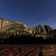 Night View Of The Upper Yosemite Fall Art Print