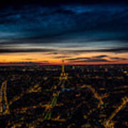 Night View Over Paris With Eiffel Tower Art Print