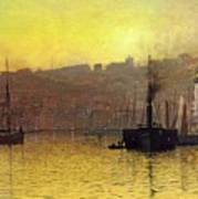 Nightfall In Scarborough Harbour Art Print