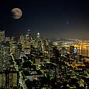 Nightlights Seattle Washington  Art Print
