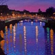 Nighttown Ha Penny Bridge Dublin Art Print by John  Nolan