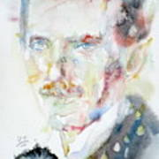 Nikola Tesla - Watercolor Portrait.3 Art Print
