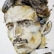 Nikola Tesla - Watercolor Portrait.6 Art Print