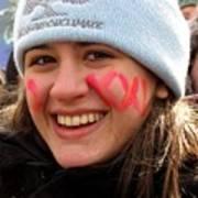 No Kxl Face Paint At Political Demonstration Art Print