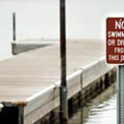 No Swimming Or Diving Art Print