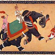 Nobleman Riding Elephant Art Print
