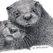 North American River Otters Art Print